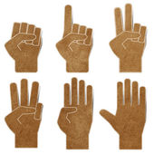 Hands recycled paper craft stick on white background — Stock Photo