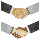 Shaking hands recycled paper craft — Stock Photo