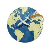 Airplane travel around the globe recycled paper craft : Data source: NASA — Stock Photo