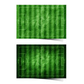 Grunge soccer ( football ) field recycled paper craft stick on white backgr — Stock Photo