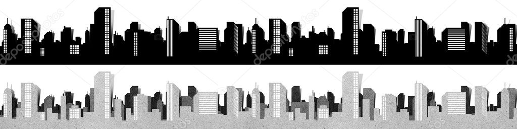 City panorama silhouettes recycled paper craft  — Stock Photo #6395308