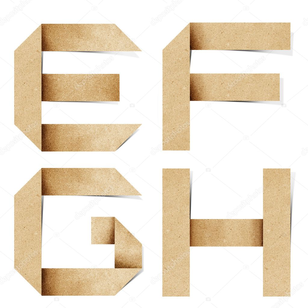 Origami alphabet letters recycled paper craft stick on white background — Stock Photo #6395390