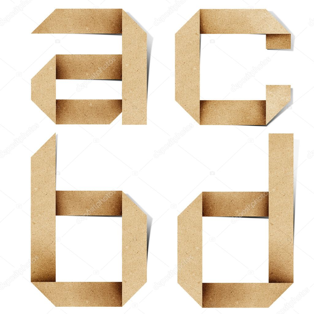 Origami alphabet letters recycled paper craft stick on white background — Stock Photo #6395445