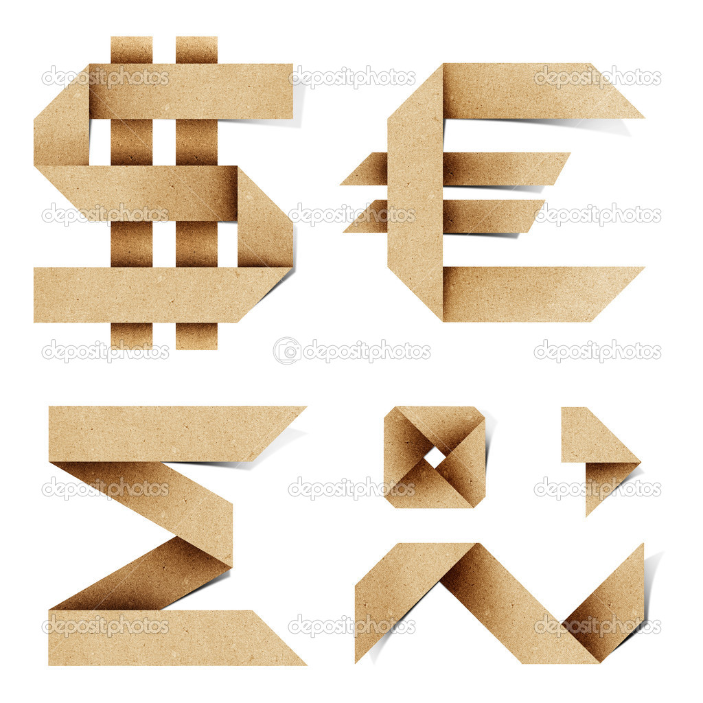 Origami alphabet letters recycled paper craft stick on white background — Stock Photo #6395493