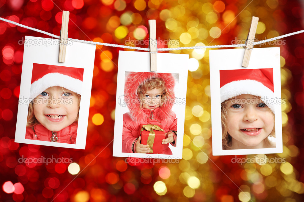 Photo of child against Christmas lights background — Stock Photo #6269758