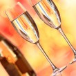 Champagne glass and Christmas background — Stock Photo