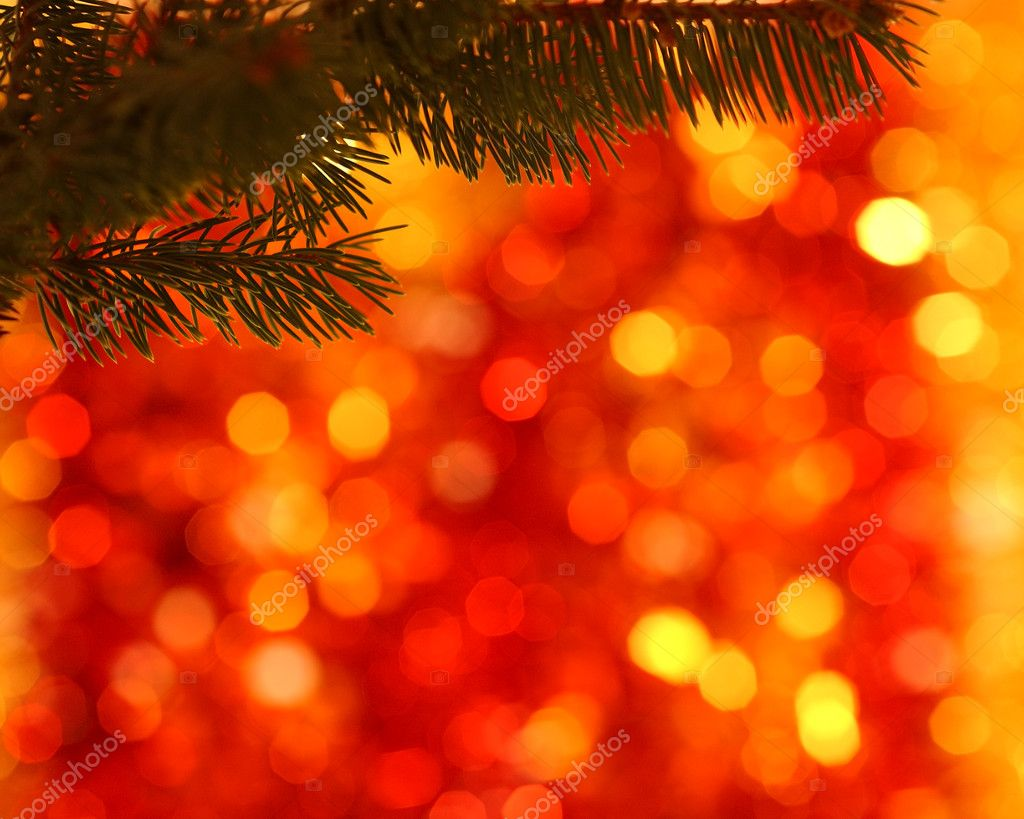 Empty branch of Christmas tree on blurred background  Stock Photo #6270489