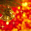 Gold Christmas bells — Stock Photo