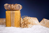 Gift box and Christmas decoration — Stock Photo