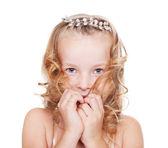 Portrait of shy pretty little girl — Stock Photo
