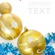 Yellow christmas decorations isolated on white background with c — Stock Photo #6478788