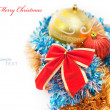 Stock Photo: Christmas decoration baubles and red bow isolated on white backg