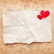 Ripped piece of paper on grunge paper background. Love letter — Stock Photo