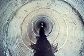 Industrial tunnel. Cement Sewer Pipe. Underground waste system — Stock Photo