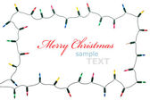 Christmas lights frame isolated on white background with copy sp — Stock Photo