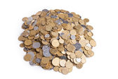 Heap of ukrainian coins isolated on white background — Stock Photo