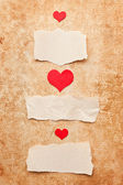 Ripped pieces of paper on grunge paper background. Love letter.V — Stock Photo
