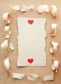 Handmade card from ripped pieces of paper. Love letter.Valentine — Stock Photo