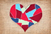 Fabric scraps heart on texture grunge background. Valentine's Da — Stock Photo