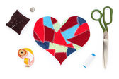 Fabric scraps heart. Valentine's Day — Stock Photo