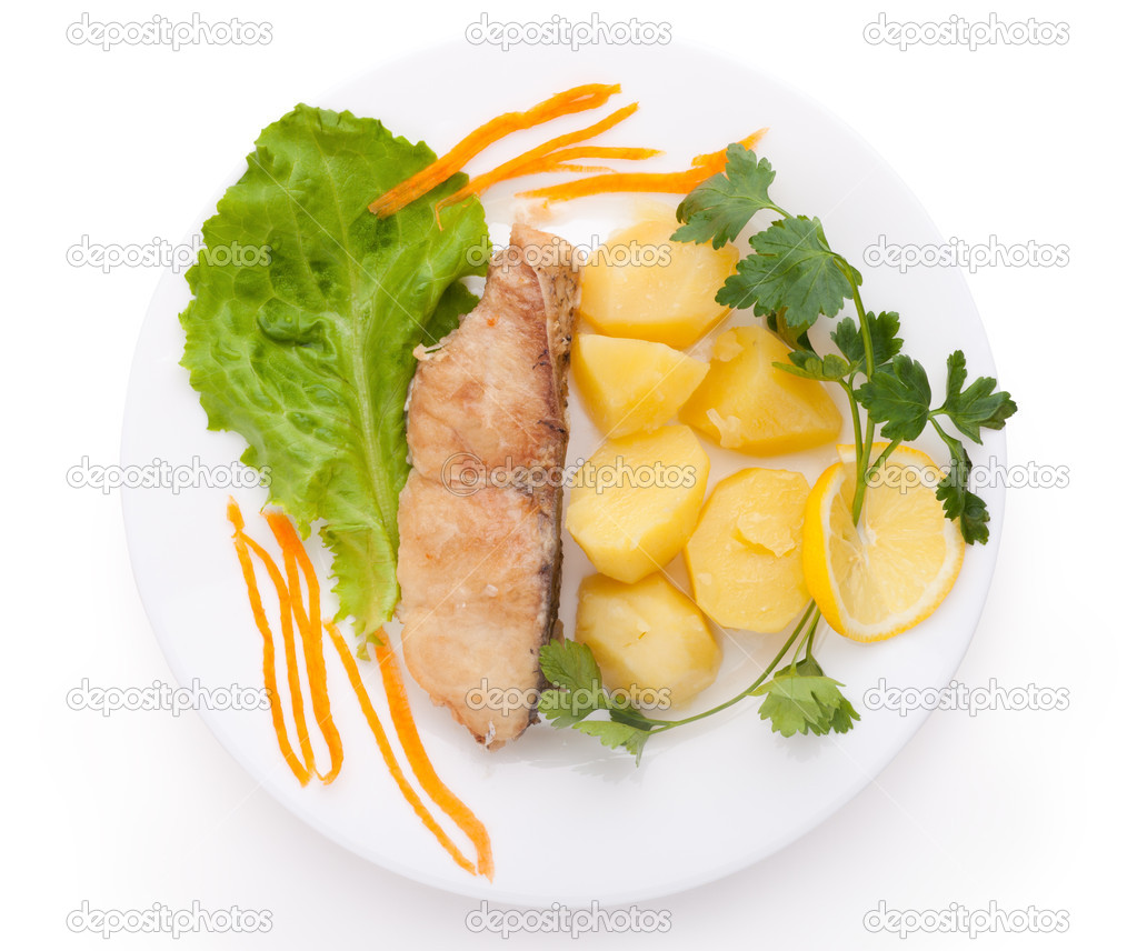 Fish and potatoes served isolated on white background   Stock Photo #6478696