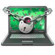 Royalty-Free Stock Photo: Laptop with lock and chain