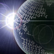 Binary code on a surface of a planet — Foto Stock