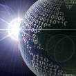 Binary code on a surface of a planet — Stockfoto