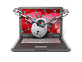 Laptop with lock and chain — Stock Photo