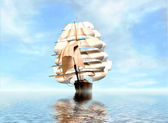 Vintage Frigate sailing into a fog bank — Stock Photo