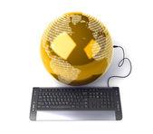 Arth globo conectado com teclado de computador — Fotografia Stock
