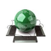 地球全球连接与计算机键盘 — 图库照片