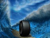 The sports wheel slides through the sea — Stock Photo