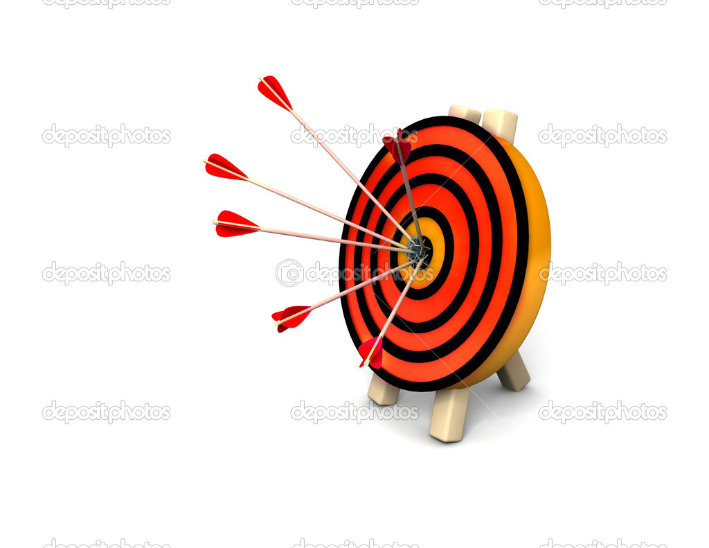 3d target and arrows, isolated on white  Stock Photo #6263903