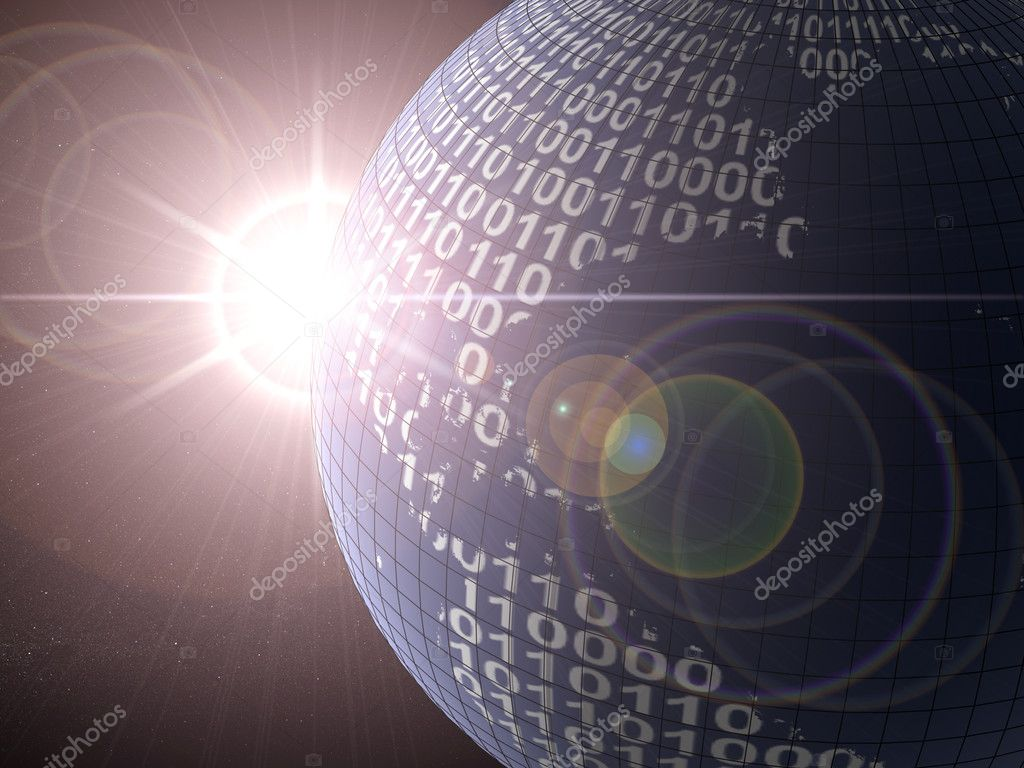 Binary code on a surface of a planet  Stock Photo #6266507