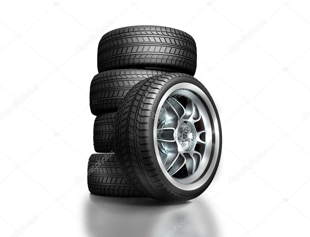 Wheels isolated on white. 3d illustration. — Stock Photo #6269202