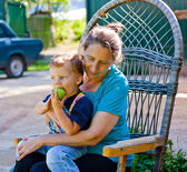 Close-up portrait of grandmother and grandson — Stock Photo