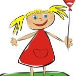 Girl with balloon — Stock Vector