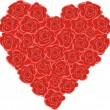 Heart from red roses — Stock Vector