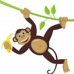 Monkey with banana — Stock Vector #6411967