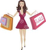 Alışveriş kız — Stok Vektör