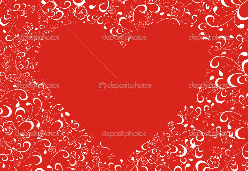 Heart surrounded with flowers on a red background — Stock Vector #6411952