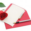 Love letter with rose — Stockfoto