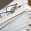 Tons of paperwork - working late concept — Stock Photo