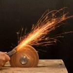 Senior craftsman hand grinding — Stock Photo #6408482