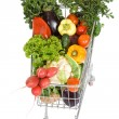 Shopping cart with vegetables - top view, isolated — Stock Photo #6408547