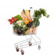 Groceries in shopping cart — Stock Photo