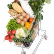 Healthy food in shopping cart — Stock Photo