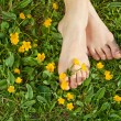Woman resting her feet in the fresh spring vegetation - Stock Photo