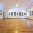 Empty art gallery with blank pictures — Stock Photo